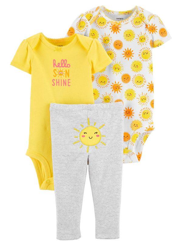Carter's Σετ των τριών ,Δύο κορμάκια - Παντελόνι με σχέδιο ήλιο