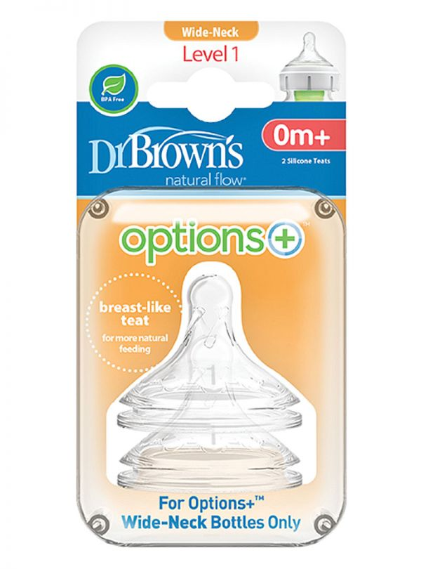 DR.BROWN'S Θηλές Options+ επίπεδο 1 (WN) , 0 έως 3 μηνών (2 τεμ.)