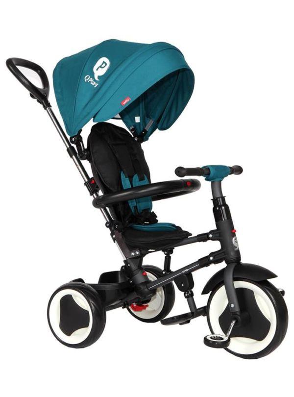 Παιδικό τρίκυκλο ποδήλατακι με τιμόνι βόλτας Qplay Rito Πετρόλ 01
