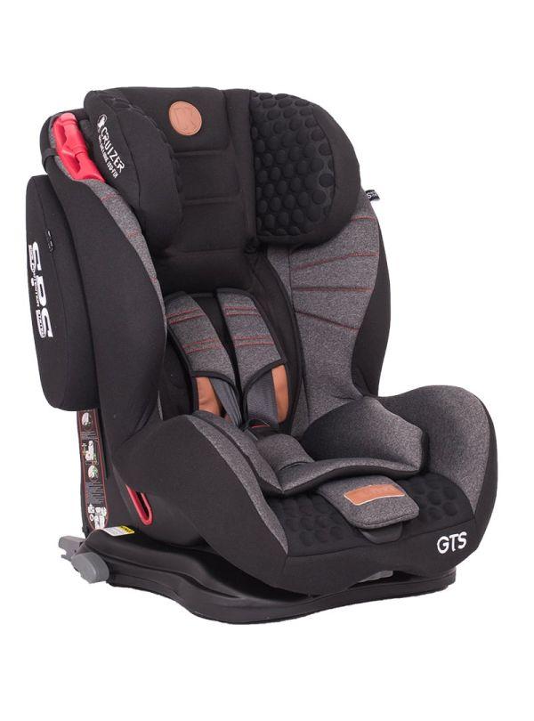 Kiddo Cruizer GTS Deluxe Iso-Fix Κάθισμα Αυτοκινήτου Group 1-2-3+ 9-36kg Black Stone Μαύρο