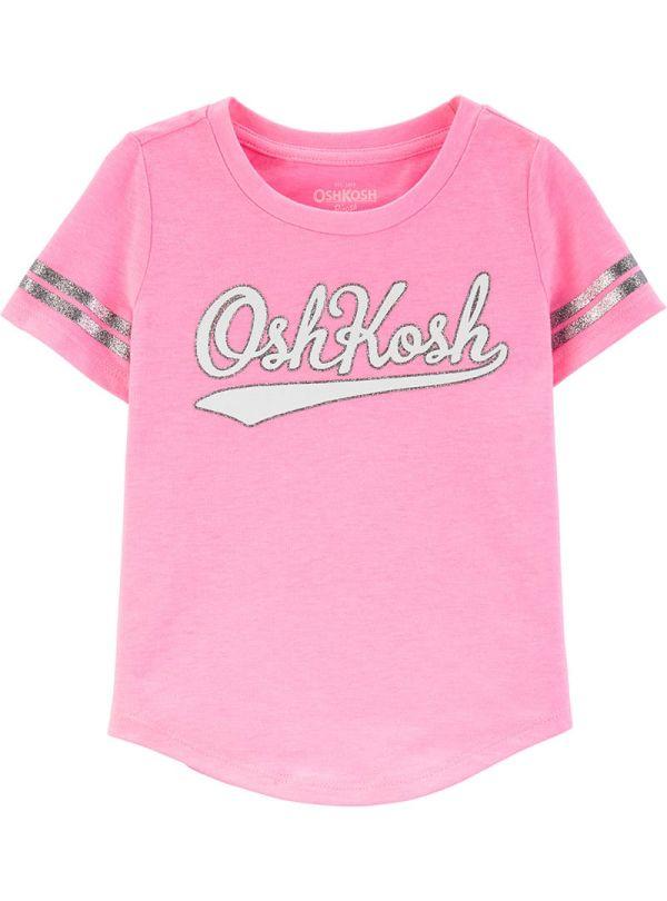 Oshkosh κοντομάνικη ροζ μπλούζα με ρίγες στα μανίκια