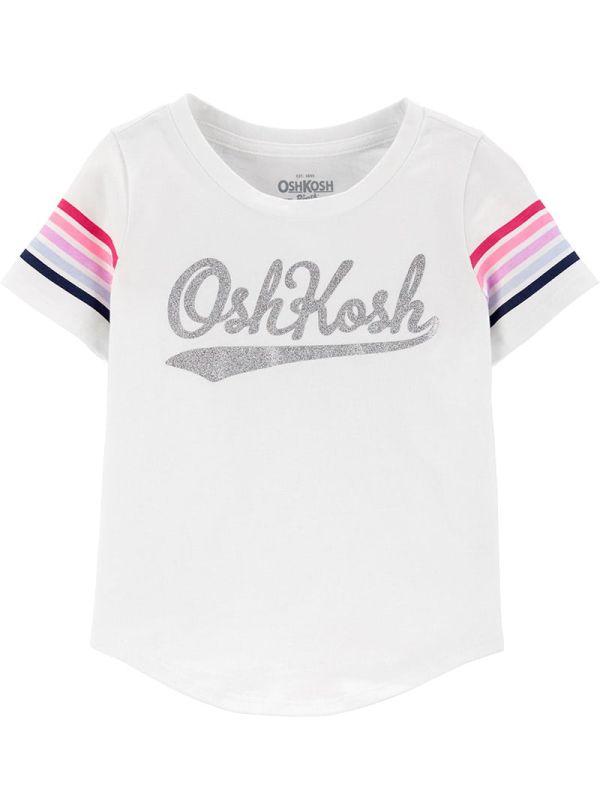 Oshkosh κοντομάνικη λευκή μπλούζα με ρίγες στα μανίκια