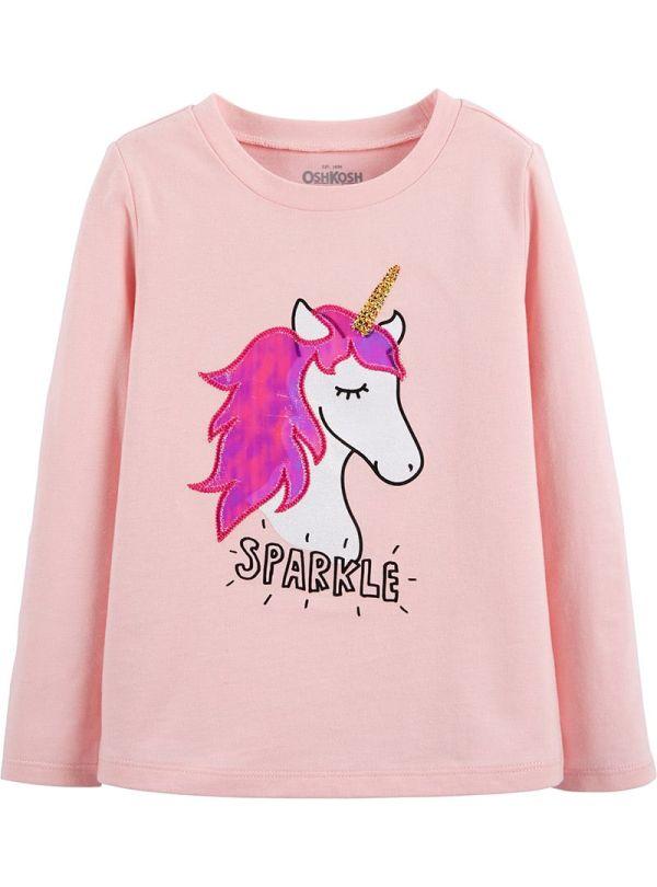 Oshkosh μπλούζα ροζ μακριμάνικη με ιριδίζον μονόκερο