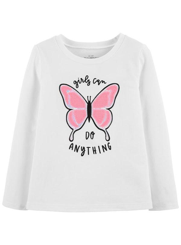 Oshkosh μπλούζα λευκή μακριμάνικη με ιριδίζον πεταλούδα