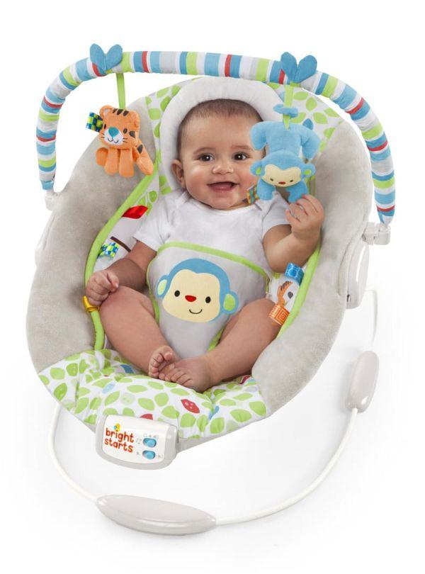 Ρηλάξ Bright Starts Merry Monkeys Cradling Bouncer γκρι πρασινο 02