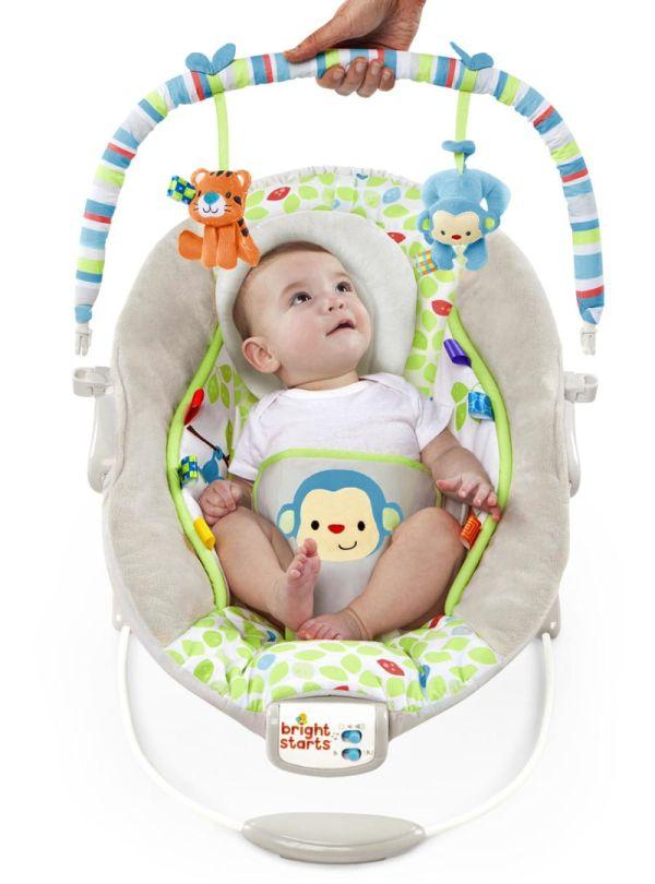 Ρηλάξ Bright Starts Merry Monkeys Cradling Bouncer γκρι πρασινο 04