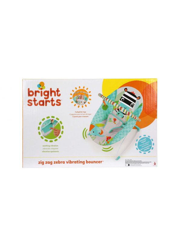Bright Starts Ριλάξ Zig Zag Zebra Vibrating Bouncer 6